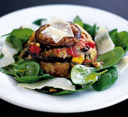 Aubergine timbales with goat's cheese