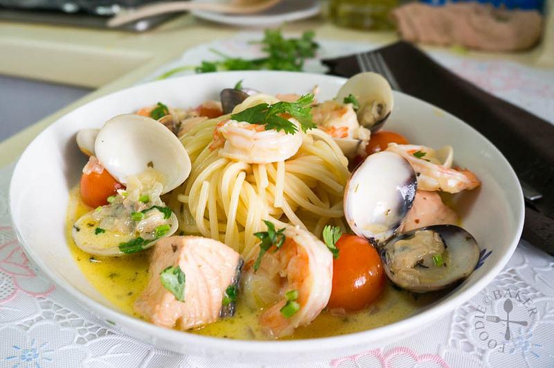 spaghetti with seafood velouté Gordon Ramsay's Spaghetti with seafood velouté